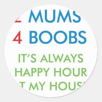 2 mums round sticker