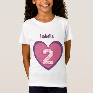 2nd Birthday 2 Year Old Zebra Number Heart V121 T Shirt