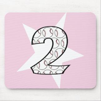 2nd Birthday Pink Baseball Star Mousepad