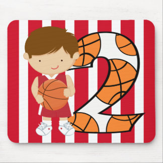 2nd Birthday Red and White Basketball Player Mouse Pad