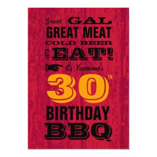 30th Birthday BBQ Grill Out 13 Cm X 18 Cm Invitation Card