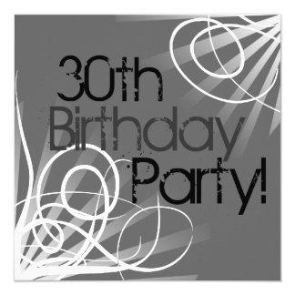 30th Charcoal Swirl Custom Invitations front/back