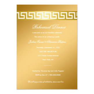 311-Golden Greek Key 13 Cm X 18 Cm Invitation Card