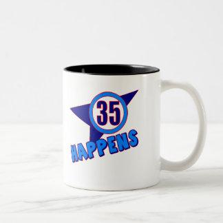 35 Happens 35th Birthday Gifts Two-Tone Mug