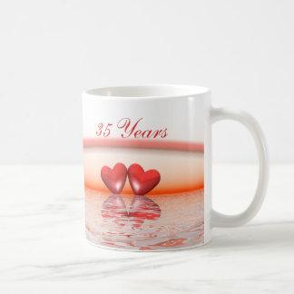 35th Anniversary Coral Hearts Basic White Mug
