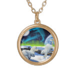 3 Polar Bear Cubs Playing in Snow - Earth Day Art Round Pendant Necklace