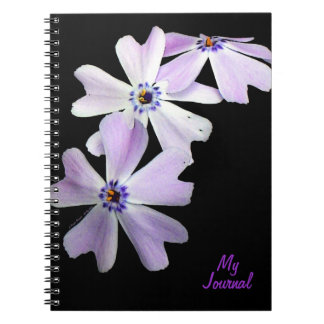 3 Purple Flowers Personalized Journal Notebooks