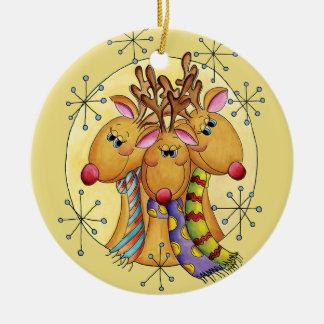 3 Reindeer Christmas Ornament