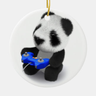 3d Baby Panda Videogames Round Ceramic Decoration