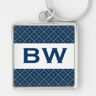 3D Raised Look Monogram Blue Ver 6 Silver-Colored Square Key Ring