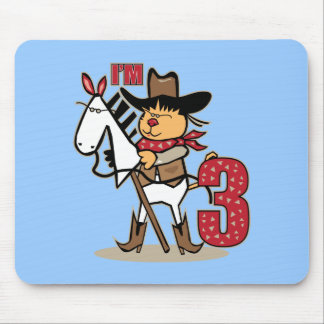 3rd Birthday Cowboy Stick Figure Age 3 Mouse Pad