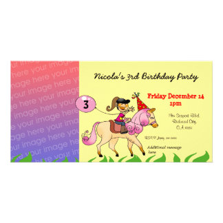 3rd birthday girl party invitations (pink pony) picture card