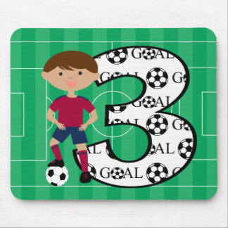 3rd Birthday Red and Blue Soccer Goal Mousepad