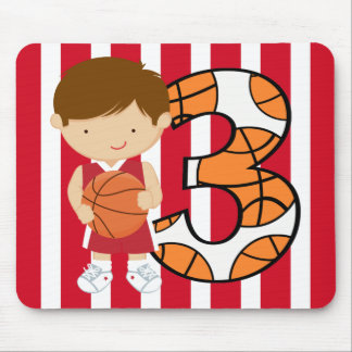 3rd Birthday Red and White Basketball Player Mouse Pad