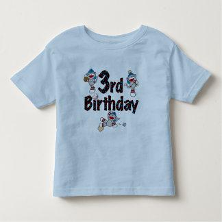 3rd Sock Monkey Baseball Birthday Shirts