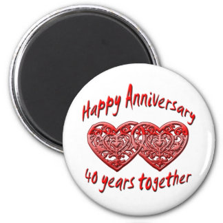 40 Years Together 6 Cm Round Magnet