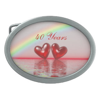 40th Anniversary Ruby Hearts Oval Belt Buckle