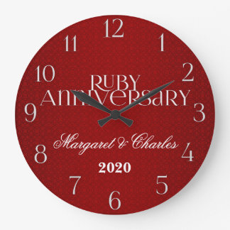 40th Ruby Wedding Annivsersary Custom Wall Clock