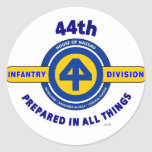 "44TH INFANTRY DIVISION ""PREPARED IN ALL THINGS"" ROUND STICKER"