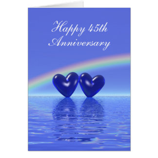45th Anniversary Sapphire Hearts (Tall) Greeting Card