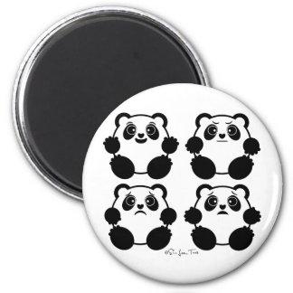 4 Emotional Pandas 6 Cm Round Magnet