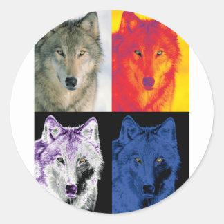 4 Wolf Faces Round Sticker