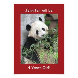 4th Birthday Party Invitation, Giant Pandas Red 13 Cm X 18 Cm Invitation Card