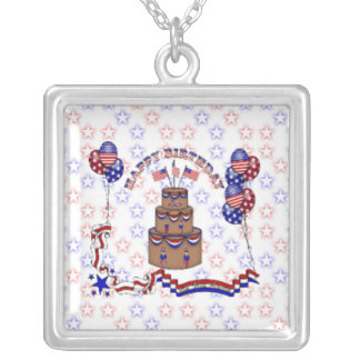 4th of July Celebration Square Pendant Necklace