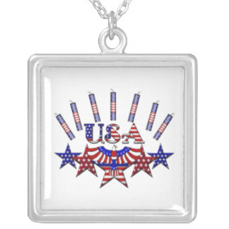 4th of July Crackers Square Pendant Necklace