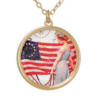 4th of July Flag Lady Vintage Postcard Art  Charm Round Pendant Necklace