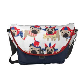 4th of July Independece Day Pugs Messenger Bag