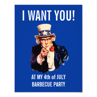 4th of July Independence Day BBQ Party 11 Cm X 14 Cm Invitation Card