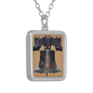 4th of July Liberty Bell Square Pendant Necklace