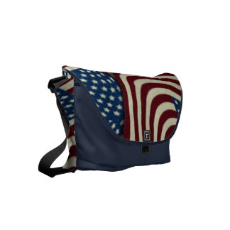 4TH Of July Red White And Blue American Flags Messenger Bag