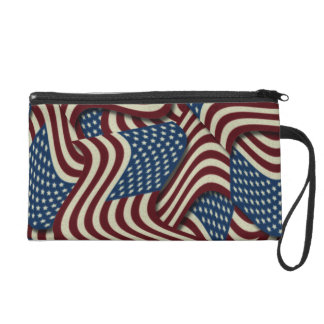 4TH Of July Red White And Blue American Flags Wristlet