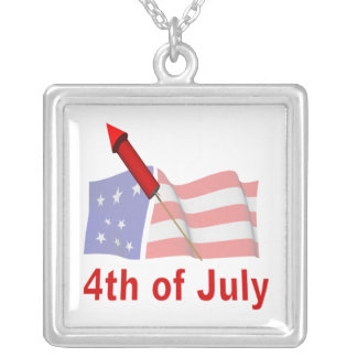 4th Of July Square Pendant Necklace