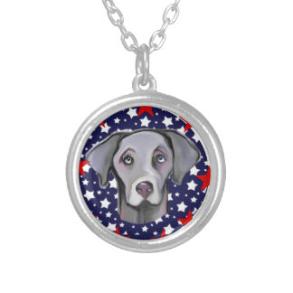 4TH OF JULY WEIMARANER ROUND PENDANT NECKLACE