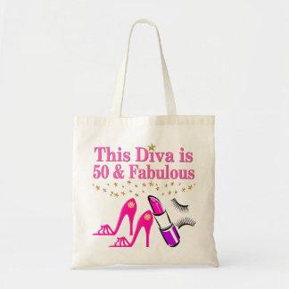 50 AND FABULOUS DIVA BUDGET TOTE BAG