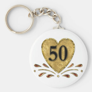 50th Anniversary - Gold Basic Round Button Key Ring