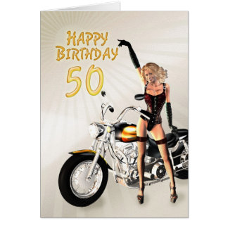 50th Birthday card with a motorbike girl