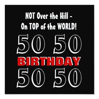 50th Birthday Modern Red Silver Black Funny W1027 13 Cm X 13 Cm Square Invitation Card
