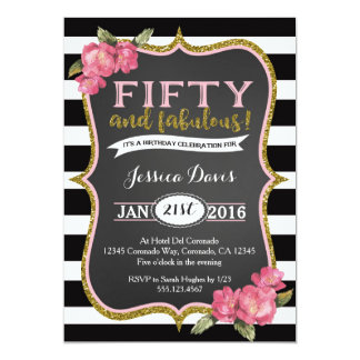 50th Birthday Party Invitation Adult Fifty Invite