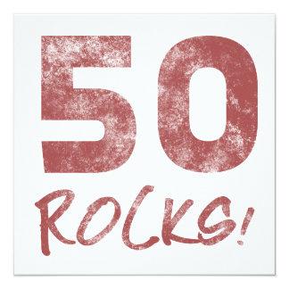 50th Birthday Rocks 13 Cm X 13 Cm Square Invitation Card