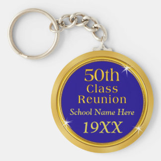 50th High School Reunion Ideas YOUR TEXT, COLORS Basic Round Button Key Ring