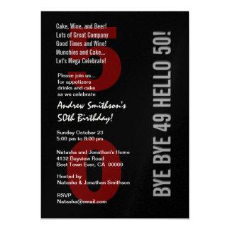 50th Modern Birthday Black Silver White Red 13 Cm X 18 Cm Invitation Card