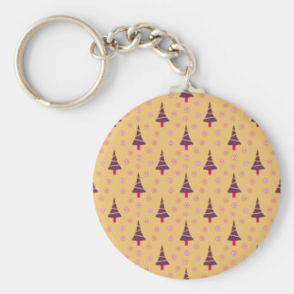 587 Cute Christmas tree and snowflake pattern.jpg Basic Round Button Key Ring
