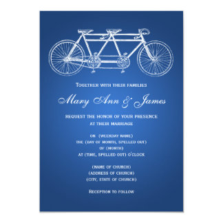 5x7 Simple Wedding Tandem Bike Blue 13 Cm X 18 Cm Invitation Card