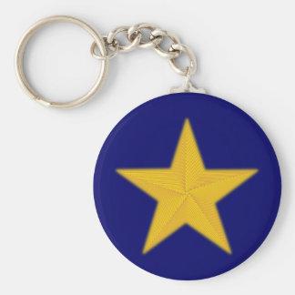 5zackiger star Pentagon pentacle Basic Round Button Key Ring