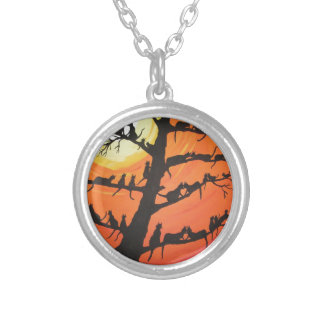 60 Cats In The Love Tree Round Pendant Necklace
