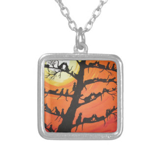 60 Cats In The Love Tree Square Pendant Necklace